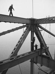 Construction workers building the Golden Gate Bridge. San Francisco, 1956.