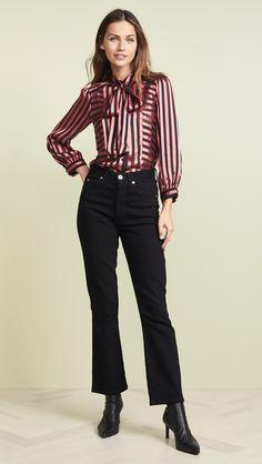 5b7cbe60f49c2c Silk Bow Blouse Blusen, Hemden, Schöne Hintern, Kleidung, Schluppenbluse,  Bluse Outfit