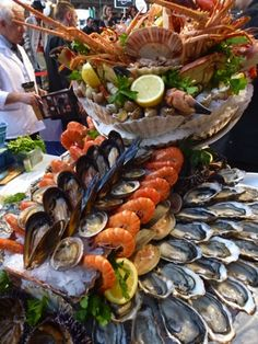 Nadire Atas on Fish & Seafood Plateau de fruits de mer Plus Seafood Buffet, Seafood Platter, Seafood Dishes, Seafood Recipes, Seafood Tower, Seafood Party, Brunch Buffet, Raw Bars, Food Platters