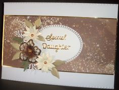 A4 Landscape card (Tent-Fold). Die-cut flowers and embellishments.