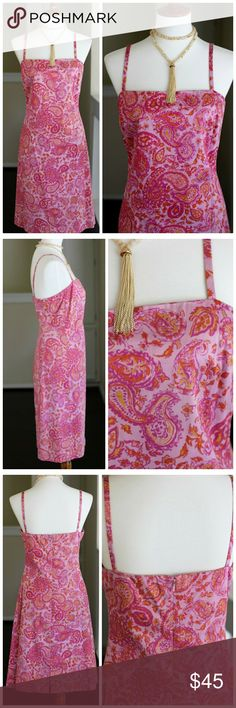 """Ralph Lauren sundress Summer colors in a classic paisley design. The dress has a straight neckline, front and back. The slender straps make it nice and open. It's fully lined, zips in back and has a walking slit in back. Versatile enough for brunches, summer parties and anytime you want to feel pretty in pink. No flaws and in great condition.Stretch sateen cotton.  Length from shoulder to hem: 39""""  pit to pit: approx 18""""  waist: approx 17.5""""  Size 10 Ralph Lauren Dresses Midi"""