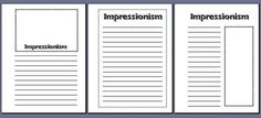 impressionism art notebooking pages from The Notebooking Fairy
