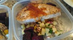 Swordfish and red sweet corn ¦ Friend That Cooks Blog    Jet fresh swordfish sauteed in cottonseed oil with sesame teriyaki reduction. Served with red sweet corn and cucumber relish with fresh chives and roasted beets. With the limited amount of teriyaki reduction, and the fact it is made with agave syrup, this is a great Diabetic recipe idea. Healthy meals prepped weekly for busy families in Kansas City and Wichita from personal chefs at Friend That Cooks  www.friendthatcooks.com