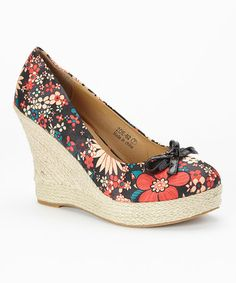 Another great find on #zulily! Black Floral Zoe Wedge #zulilyfinds