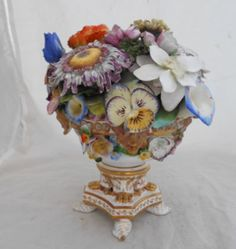 DERBY CENTERPIECE WITH ENCRUSTED FLOWERS C-1920