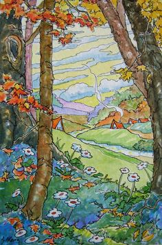 """Down Autumn Valley Storybook Cottage Series"" - Original Fine Art for Sale - © Alida Akers Cute Cottage, Cottage Art, Painted Cottage, Abstract Watercolor, Watercolor Illustration, Watercolor Paintings, Watercolour, Fantasy Kunst, Fantasy Art"
