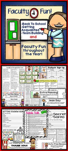 Faculty fun all year! Encourage a positive school climate with these super fun ideas and activities. Perfect for administrators, sunshine committees, hospitality, and courtesy groups. School Leadership, Educational Leadership, School Counseling, Faculty Meetings, Faculty And Staff, School Clubs, School Staff, Teacher Morale, Staff Morale