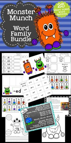 You will love this bundle!  25 Short Vowel Word Families  Word Family Rhyme Posters pgs. 5-30 Word Family Readers pgs. 31-56 Word Scrambles pgs. 57-86 ABC order pgs. 87-93 Play-dough Mats pgs. 94-144 Messy Monsters Sorting Activity pgs. 95-177 Bubble Map Monsters pgs. 180-204 Coloring Sheet pgs. 205-210 $12 TpT