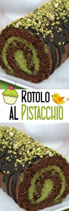 Rotolo al pistacchio e cioccolato Wine Recipes, Dessert Recipes, Cupcakes, Sweet Bread, Creative Food, Chocolate Recipes, Love Food, Sweet Recipes, Bakery