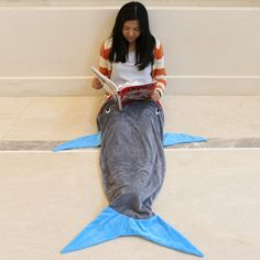 Creative Patchwork Shark Blanket by Blankie Tails Sleeping Bag For Kids