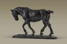 #Bronze #sculpture by #sculptor Alison Murray Wells titled: 'Shire Horse (Small Dray Cart Plough Heavy Work Horse statuette statue)'. #AlisonMurrayWells