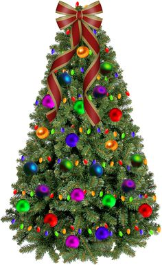 Free Christmas Graphics: Christmas Tree with Colorful Ornaments and Bow