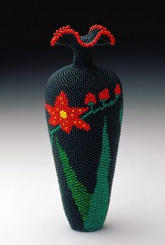 """Blackberry Lily"" Linda Fifield (Former) exhibiting member in Mixed Media Zen Pictures, Seed Bead Crafts, Mosaic Vase, Flora Flowers, Beaded Boxes, Mardi Gras Beads, Beaded Animals, Vases Decor, Bead Art"