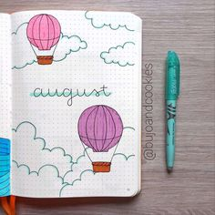 august bullet journal Lets float up up and away with these gorgeous hot air balloon bullet journal layout ideas and spread inspiration for all types of BuJos Bullet Journal August, Bullet Journal Paper, Creating A Bullet Journal, Bullet Journal Lettering Ideas, Bullet Journal Notebook, Bullet Journal Aesthetic, Bullet Journal School, Bullet Journal Themes, Bullet Journal Layout
