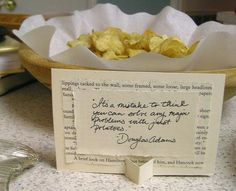 cute idea for the book club....(the quote on book page, NOT the potato chips!)