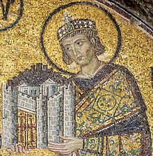 Emperor Constantine I presents a representation of the city of Constantinople as tribute to an enthroned Mary and Christ Child in this church mosaic. St Sophia, c. 1000