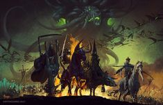 Four Horsemen of the Apocalypse, Bayard Wu on ArtStation at https://www.artstation.com/artwork/d5093