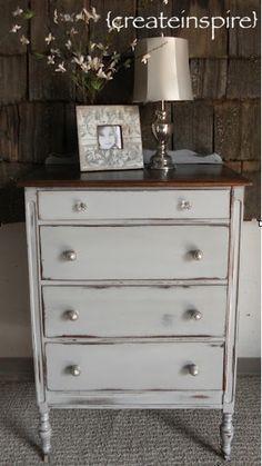 {createinspire}: French Dresser Distressed Dresser, Distressed Furniture Painting, Chalk Paint Furniture, Cool Furniture, Bedroom Furniture, Kitchen Furniture, Gray Dresser, Grey Furniture, Furniture Outlet
