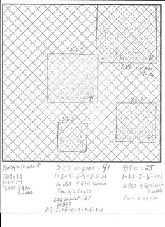 Setting Blocks On Point- I'm making my first on point quilt and having a time. so, I sat down and drew it out on graph paper.Going 3 down  and 3 across you need 13 blocks. 4x4 you need 25 Blocks. 5x5 41 blocks. If your blocks are 8 inches square they are about 10 inches wide on point, so 4x4 would be 40inches by 40 inches, 5x5 rows equal 50x50 inches. I also included how many HSTs to fill in the edges and 4 quarter triangles for each corner. Hope this helps some of you. ;)