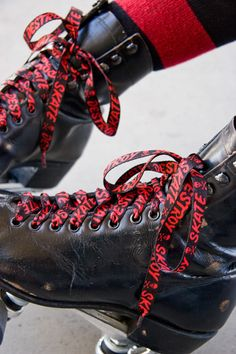 red and black Skate & Destroy Laces