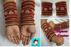 Brown with Golden Color Exclusively Weddings Designed Broad Silk Thread Bangle Designs Its purely handmade products. Whole sellers are also welcome. Its available in all sizes and Silk Thread Bangles Design, Silk Thread Necklace, Silk Bangles, Beaded Necklace Patterns, Bridal Bangles, Thread Jewellery, Paper Jewelry, Jewelry Patterns, Handmade Jewellery