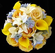 Real Touch Wedding Bouquet Set of Yellow Roses & Yellow Calla Lilies with Blue Delphiniums and White Dendrobium Orchids