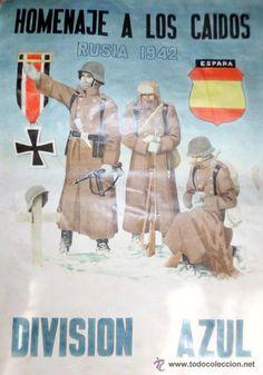 CARTEL PROPAGANDA DIVISIóN AZUL - MEDIDAS 29,5 X 41,5 cm (Papel - Varios)
