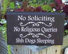 No Soliciting No Religious Queries Shh Dogs Sleeping Wood Vinyl Sign Casual Cottage Home Decor Door Hanger