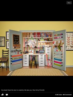 Beautifully organized crafting space by ikea.