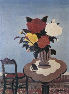 Roses With Red Chair - Horace Pippin
