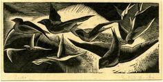 Gertrude Hermes (British, 1901-1983). Swifts in flight. 1925. (wood engraving)