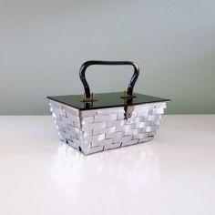 Vintage 1950s Box Purse Silver Metallic Glam Basket by MetricMod, $60.00