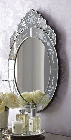 New Horchow French Venetian Glass Wall Mirror Bath Bedroom Oval Antique Style Venetian Glass, Venetian Mirrors, Bathroom Mirror Design, Vanity Bathroom, Bathroom Inspo, Bathroom Ideas, Farm Style Bathrooms, French Vanity, Oval Mirror