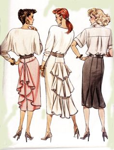 1980s Vintage Pattern Butterick 5955 Wiggle Skirts with Back Flounce Size 12 14 16 Waist 26 28 30