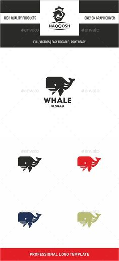 Whale Logo Design Template Vector #logotype Download it here: http://graphicriver.net/item/whale-/10290218?s_rank=1552?ref=nexion