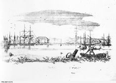 """""""The Port"""" in 1845 with Mount Lofty in the background; a photographic copy of the sketch by F. This was the year when John and Catherine Mason arrived in Adelaide. Image from SLSA South Australia, Sketch, Daughter, Urban, Illustration, Artist, Image, Sketch Drawing, Illustrations"""