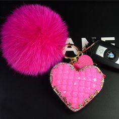Crystal Heart Fur Ball Pom Pom and Tassel Keychain