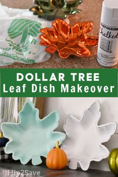 Spray Paint + Dollar Tree Plastic Leaf Dishes = Festive Fall Decor - Diy Home Decor Dollar Tree Fall, Dollar Tree Decor, Dollar Tree Crafts, Dollar Tree Halloween, Dollar Tree Pumpkins, Primitive Christmas, Fall Inspiration, Diy Décoration, Fall Home Decor