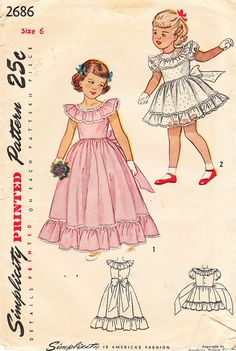 1940's Girls' Flower Girl Dress Party Dress or от BettieJoVintage
