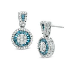 1 CT. T.W. Enhanced Blue and White Diamond Flower Cluster Drop Earrings in Sterling Silver - View All Earrings - Zales