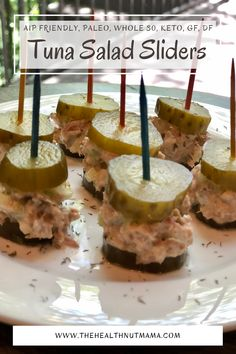 These Paleo Tuna Salad Sliders are quick & easy to make. They makes a perfect snack or healthy whole 30 or keto appetizer for your superbowl parties or entertaining in general. Gluten Free & Dairy Free too. #aipfriendly #aip #paleo #paleoappetizer #aipappetizer #superbowlappetizer #superbowl #whole30 #whole30appetizer #keto #ketoappetizer #appetizer #paleoappetizer #bubbiespickles #guthealthy #leakygut #thehealthnutmama Gluten Free Recipes, Keto Recipes, Healthy Recipes, Paleo Tuna Salad, Paleo Kids, Paleo Appetizers, Quick Snacks, Keto Foods, Ketogenic Diet