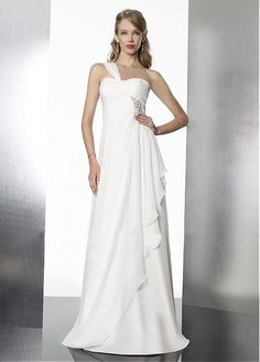 GRACEFUL A-LINE ONE SHOULDER NECKLINE RUCHED BODICE CHIFFON WEDDING DRESS WITH BEADINGS