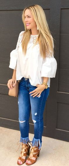 #spring #outfits White Lace Top & Ripped Skinny Jeans & Brown Laced Up Booties