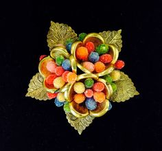 1930s Czech brooch brass flowers leaves and by WhirleyShirley, $43.00