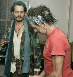 "Johnny Depp & Keith Richards. JD does the voice over for Keith's biography ""Life"""