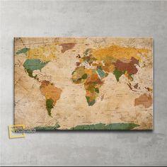 Vintage Güncel Siyasi Dünya Haritası Kanvas Tablo