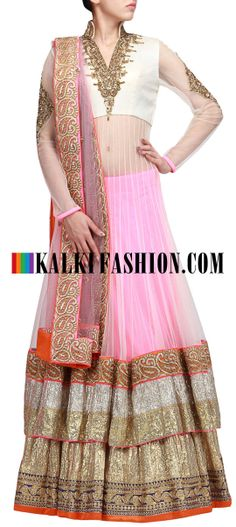 Buy Online from the link below. We ship worldwide (Free Shipping over US$100) http://www.kalkifashion.com/beige-and-pink-anarkali-lehenga-highlighted-with-embroidered-neckline-only-on-kalki.html Beige and pink anarkali lehenga highlighted with embroidered neckline only on Kalki