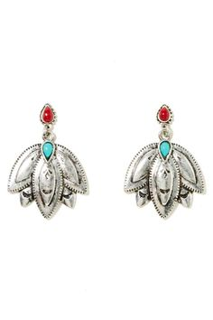Super cool antiqued silver earrings with turquoise and red stone detailing. ==