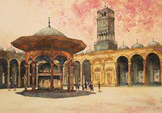 ACUARELAS+DE+LEONARDO+RUBIO:+Patio+de+la+Mezquita+de+Alabastro.+El+Cairo.