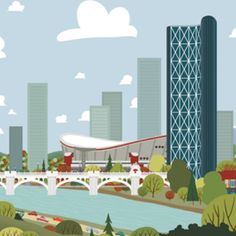 Calgary Skyline Canvas - Calgary Landmark art print, home decor  Calgary landmark art print with a unique Mid-Century / Folk Art take. A perfect Calgary gift idea for any city lover or that poor soul that is leaving town. Purchase on www.snowalligator.com  Illustration by artist Jason Blower  #yyc #yycart #yycwallart #wallart #Calgaryart #Calgarygift #yycgift #snow_alligator  #charmingart #cuteart #midCentury #Folkart #cuteart #charmingart #yyclove